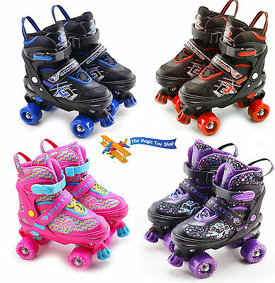 Childrens Childs 4 Wheel Kids Boys Girls Adjustable Quad Roller Skates Boots 2