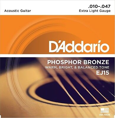 D'Addario EJ-15 Phosphor Bronze extra Light Acoustic Guitar Strings 10-47 5