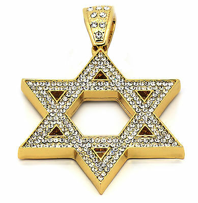 0be01fb760607 MENS GOLD ICED Out Star of David Pendant Hip-Hop 30