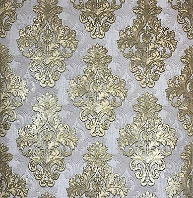 Vintage Style Paper Wallpaper Rolls Wallcovering Damask Gold