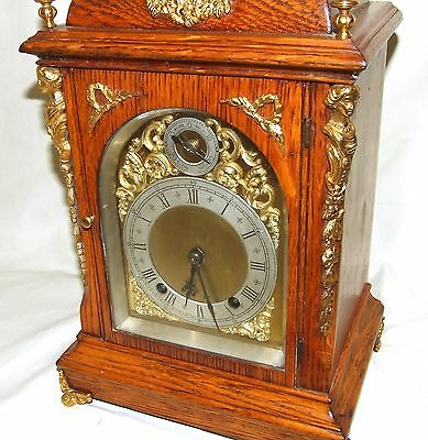 Antique Oak & Ormolu TING TANG Bracket Mantel Clock : Winterhalder W & H (a27) 4