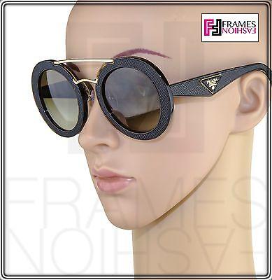 516d638fdf ... PRADA ORNATE LEATHER Round Oversized PR15SS Brown Tortoise Gold 15S  Sunglasses 2