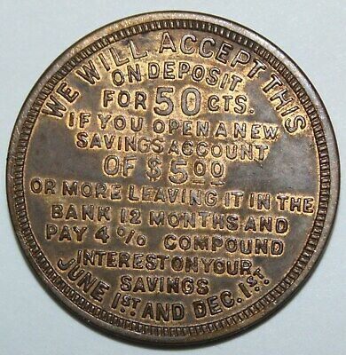 DIME SAVINGS BANK TOLEDO OH 31mm brass 1920s gf 50 cents on new acct of $5.00 10
