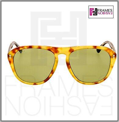 6ca175ccda0 ... GUCCI 0128 Vintage Aviator Blonde Havana Crystal Green Sunglasses  GG0128 Unisex 6