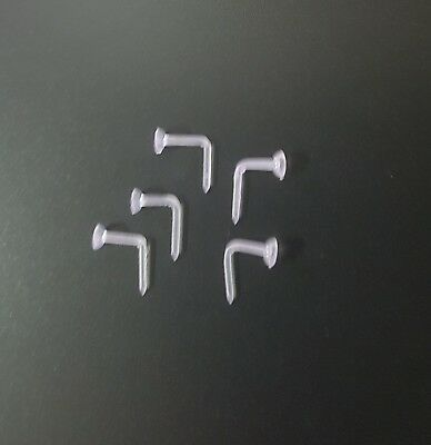 Hypo Allergenic Plastic Nose Studs Hook Retainer 0.8 mm 5 Pack  ! Allergy Free ! 3