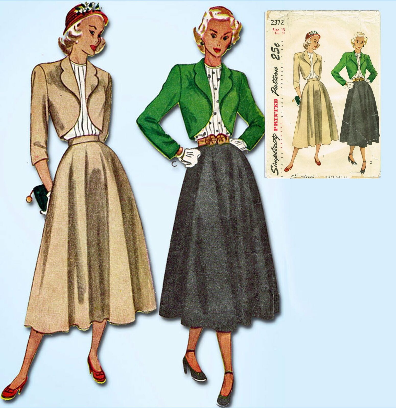 1940s Vintage Simplicity Sewing Pattern 2372 Misses Suit and Tucked Blouse 31B 8