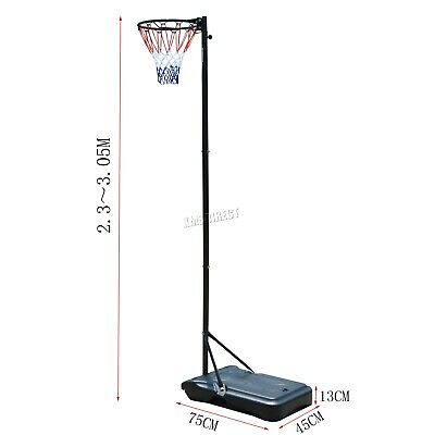 FoxHunter Netball Post Set Stand 3.05M Adjustable Height - With Wheel Hoop Net 4