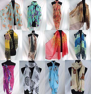 *US SELLER* 10 scarves sarong beach skirt shawl bohemian retro gifts year round