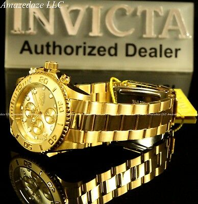 NEW Invicta Mens 18K Gold Plated Stainless Steel Golden Dial Chronograph Watch!! 7