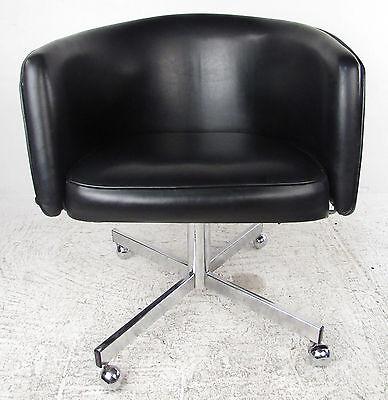 ... Mid Century Modern Vinyl Barrel Back Swivel Office Chair (9128)NJ 4