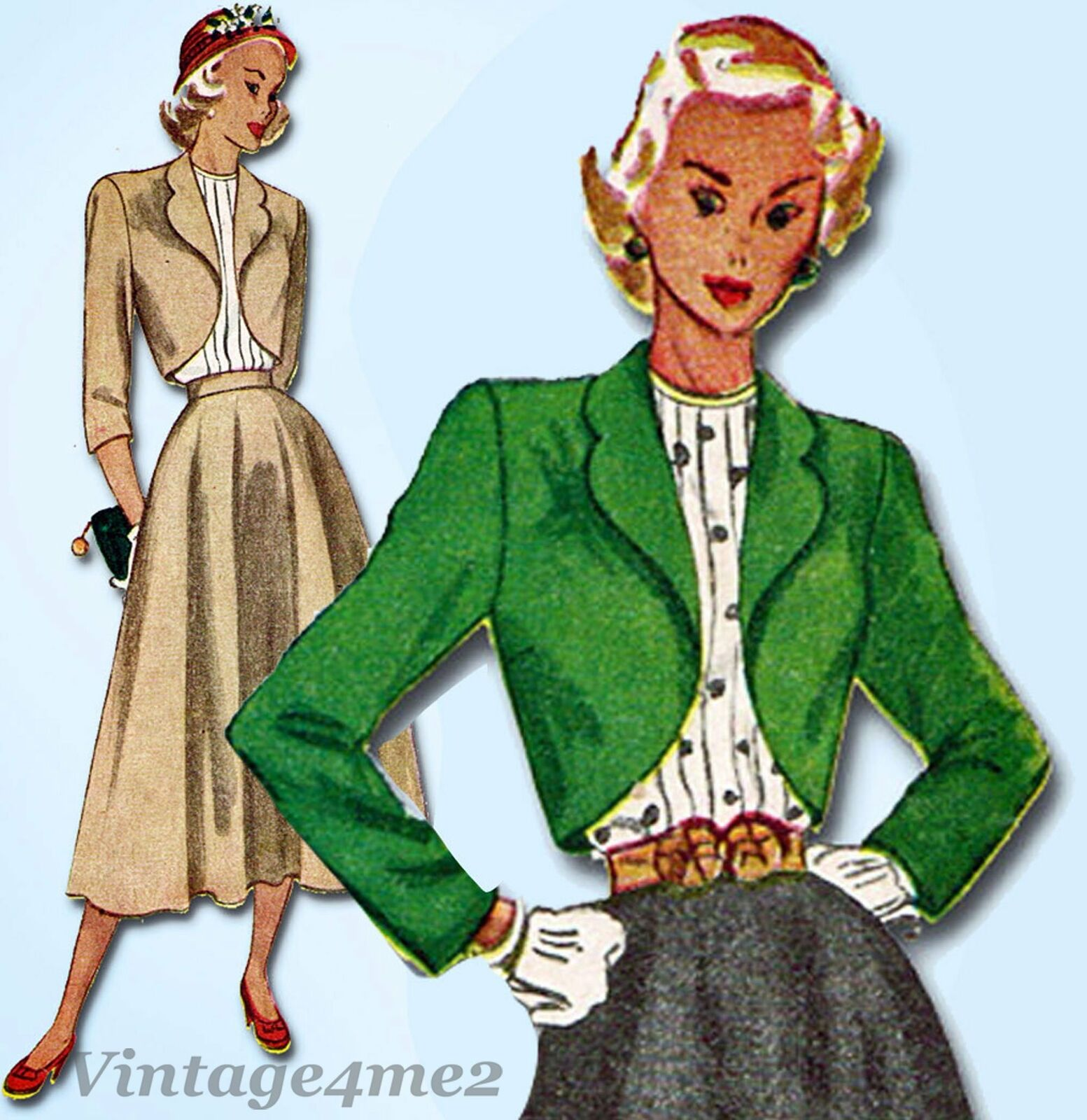 1940s Vintage Simplicity Sewing Pattern 2372 Misses Suit and Tucked Blouse 31B 3