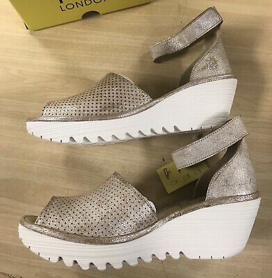 FLY LONDON Yake 881 Wedge Sandals EU 39 US 8 8.5 Rose Perforated Leather
