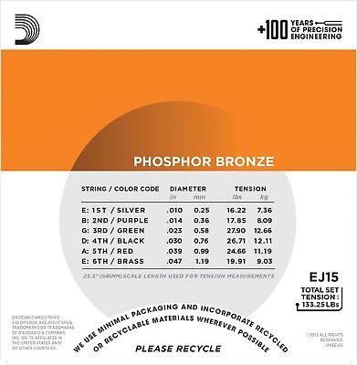 D'Addario EJ-15 Phosphor Bronze extra Light Acoustic Guitar Strings 10-47