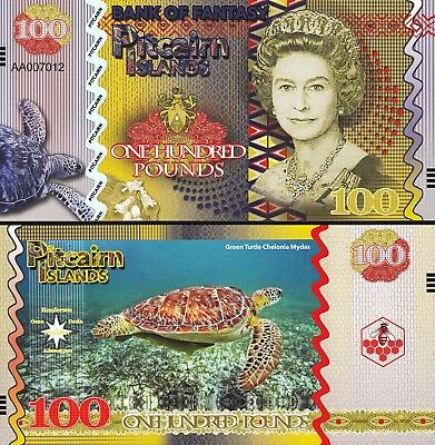 Pitcairn Islands 6 Pcs Set Unc 5 10 20 50 100 500 Pounds 2018 Same Serial Number 7