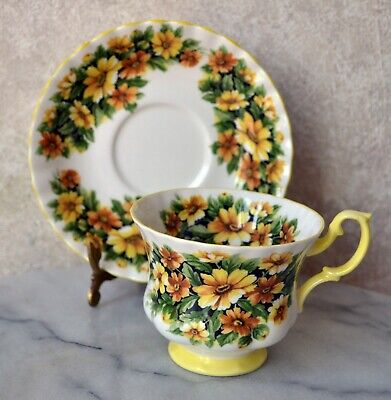 TEACUP and SAUCER SET - Royal Albert Fragrance Series MARGUERITE Flower, England 3