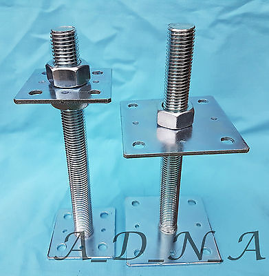 Heavy Duty Galvanised Elevated Adjustable Bolt Down Post Fitting Support / Base 7