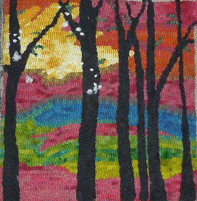 1 Of 4 Rug Hook Craft Paper Pattern Flurries Folk Art Primitive Trees Snow Karla Gerard