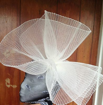 Ivory fascinator millinery burlesque wedding hat hair piece ascot race bridal x 3
