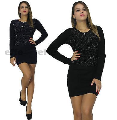 ... Vestito donna maglione Maxipull miniabito maxi maglia strass 6092 6 11af947a952