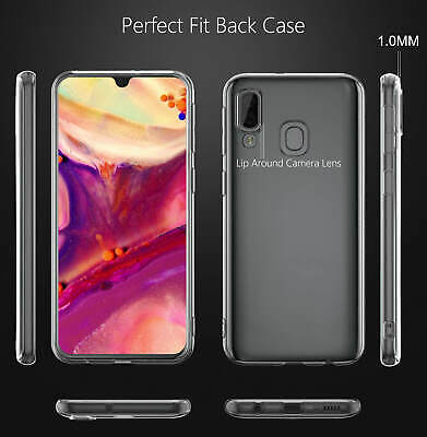 Samsung Galaxy A40 A50 Clear Gel Case Tempered Glass Screen Protector TPU Cover 6