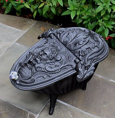 Antique French Gothic Victorian Cast Iron Fireplace Hearth Coal Hod Scuttle 12