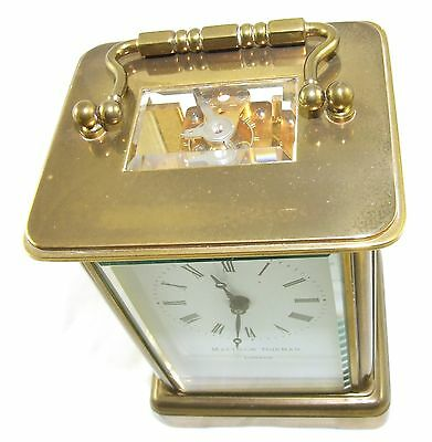 MATTHEW NORMAN LONDON SWISS MADE Brass Carriage Clock with Key : Working (49) 7
