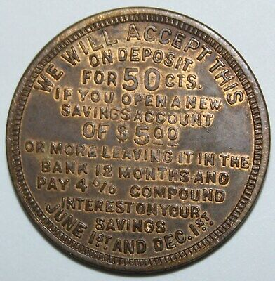 DIME SAVINGS BANK TOLEDO OH 31mm brass 1920s gf 50 cents on new acct of $5.00 12