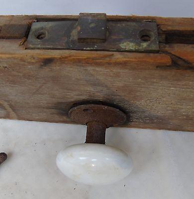 Antique Primitive White Porcelain Door Knob Set w/ Latch + Hook on Door Board 4