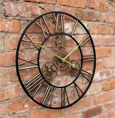 Large Metal Skeleton Wall Clock Antique gold Home Decor Round 58cm Indoor & Out 10