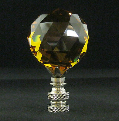 Lamp Finial-Lite Amber Leaded Crystal Lamp Finial-Satin Nickel Base 9