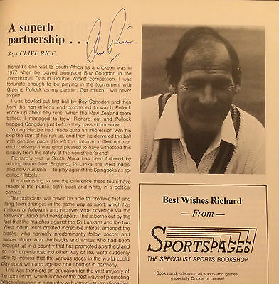 Hand Signed RICHARD HADLEE Testimonial Book + signed Clive Rice Clive Lloyd 3