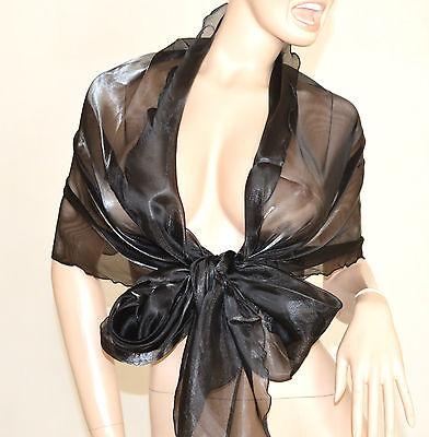 Elegante Da Donna Cerimonia Foulard Stola Nero Coprispalle Maxi X Ig7Yyvbf6