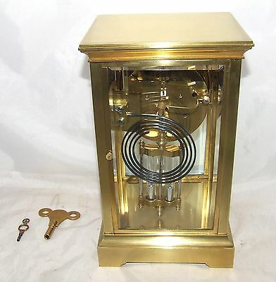 Antique French Four Glass Brass Striking Bracket Mantel Clock CLEANED & SERVICED 8
