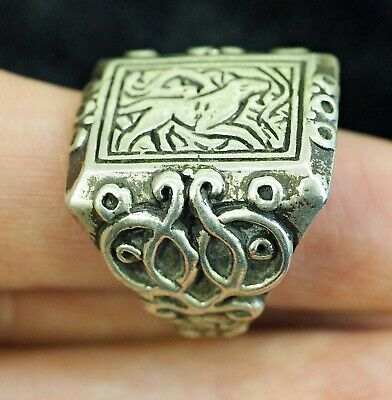 Antique intaglio Signet Tiger  Walking in a jungle Sterling Silver Power Ring 2