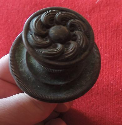 Antique 19th c. Spun Brass Furniture Knob Drawer Pull Handle Federal Door