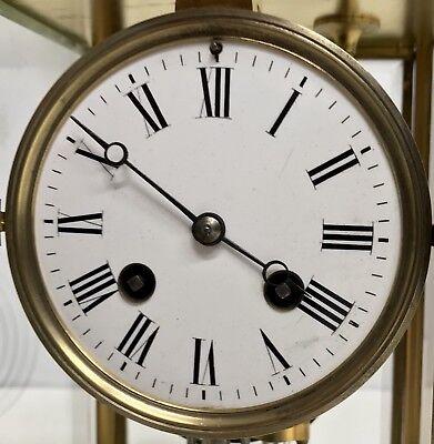 Antique Four Glass Brass Striking Bracket Mantel Clock Brass Japy Freres 3