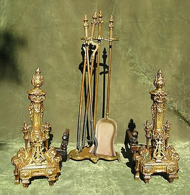 Antique Pair French Empire Style Brass Andirons Chenets 7
