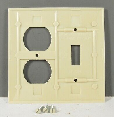 NOS Vintage Ivory Bakelite Outlet & Switch Cover Combo Ribbed McDonald's Sierra 3