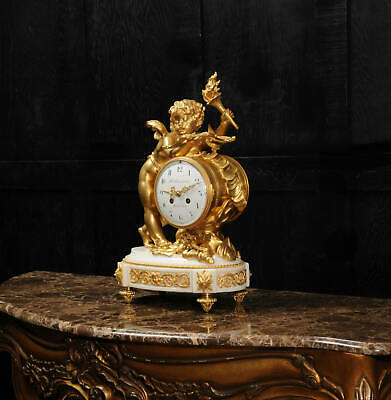 Superb Antique French Ormolu And White Marble Clock - Cupid 7
