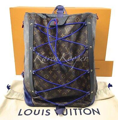 8a260b4b457 NEW AUTH LOUIS Vuitton Monogram Outdoor Pacific Blue Backpack Bag Men Split