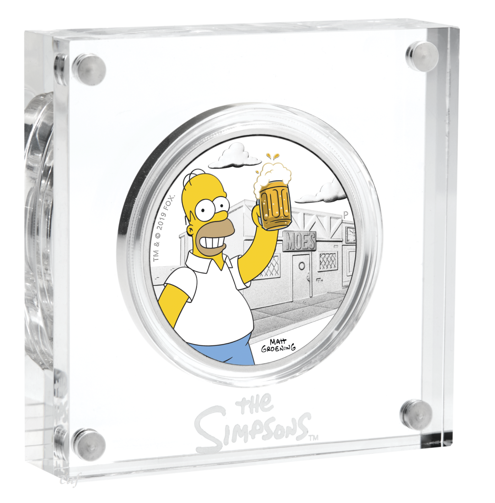 2019 The Simpsons - Homer Simpson 1oz $1 Silver 99.99% Dollar Proof Coin 4