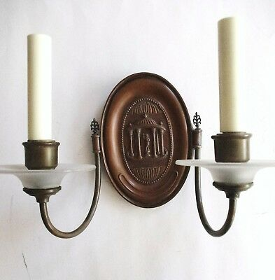 (2) Pair E.F. Caldwell Statuary Bronze Finish Sconces w./ Glass. Offers Welcome! 8