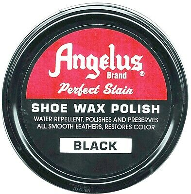 Leather Shoe Shine KIT BLACK polish + Lustre Cream & 2 horsehair brushes Angelus 3