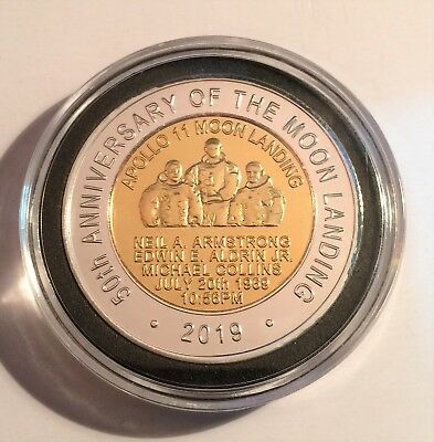 """2019 """"50th Anniversary Of The Moon Landing"""" 43 mm Coin, Limited to 2500 C.O.A 3"""