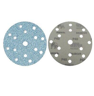 "Mirka Basecut 15 Hole Hook n Loop Sanding Discs H&L 150mm 6"" Sand Paper Disks 3"