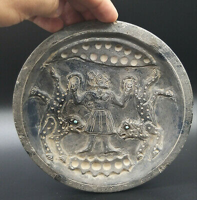 Very Ancient Old Bactrain King Hunting Chatta Craved Unque Frige Stone Plate 6