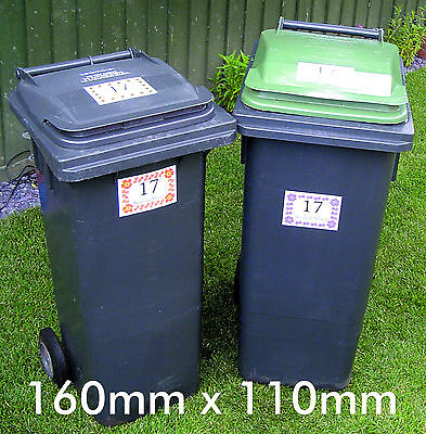 Wheelie Bin Stickers x 4 two Tabby Cats Design. Street / House No. 160x110mm. 2