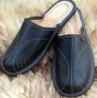 Mens Leather Slippers Slip On Shoes Moccasins Size 7 8 9 10 11 12 13 UK Mules 8