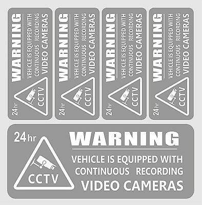 5 Warning Stickers Security CCTV Video Camera  Window Car Vehicle Sign Safety + 2