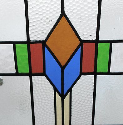 Antique English Wood Framed Leaded 7-Color Stained Glass Window Art Deco LARGE#2 2